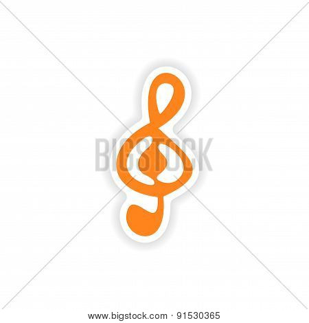 icon sticker realistic design on paper clef