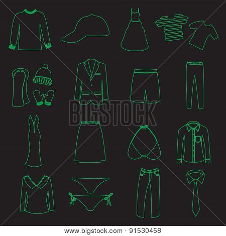 Clothing Simple Outline Vector Icons Set Eps10