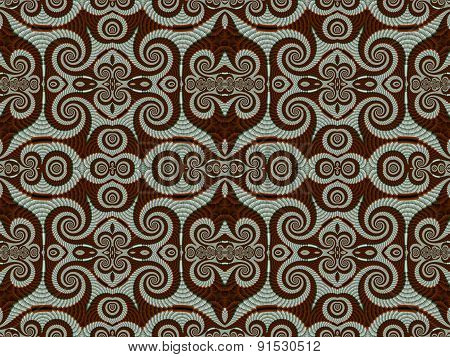 Symmetrical Pattern From Spiral Fractal. Gray And Brown Palette. Computer Generated Graphics.