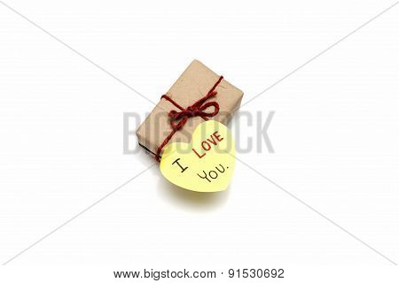 I Love You Write On Heart Paper Card With Gift Box