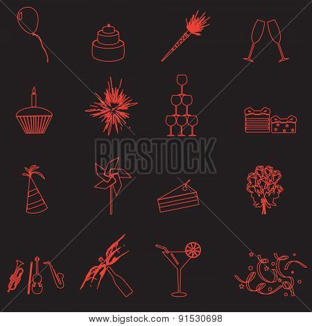 Celebration And Party Outline Icons Set Eps10