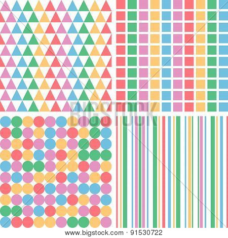 Four Abstract Pastel Colors Seamless Simple Pattern Eps10