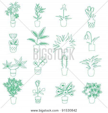Home Houseplants And Flowers In Pot Outline Icons Eps10