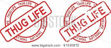 thug life stamp sticker circle set