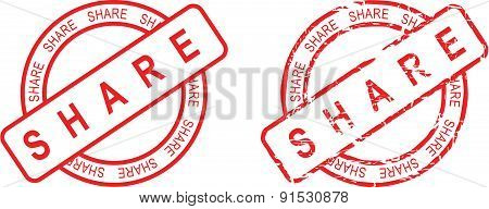 share stamp sticker circle set
