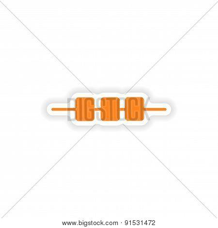 icon sticker realistic design on paper kebab