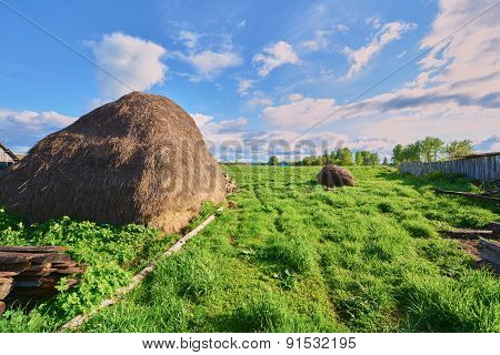 Haystack On A Green Grass