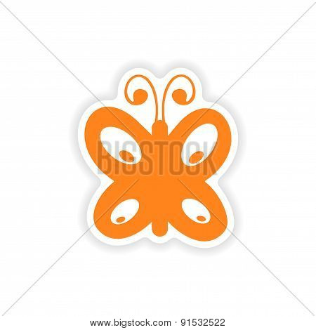 icon sticker realistic design on paper butterfly