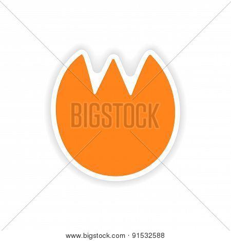 icon sticker realistic design on paper tulip