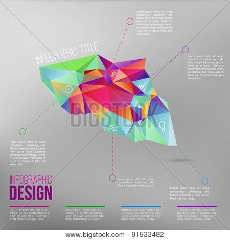 Vector infographic with colorful abstract 3d figure.EPS10