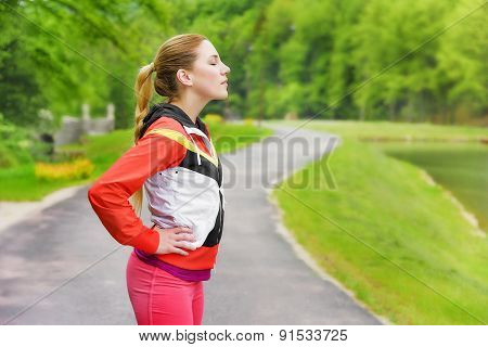 Woman Relaxing After Running.