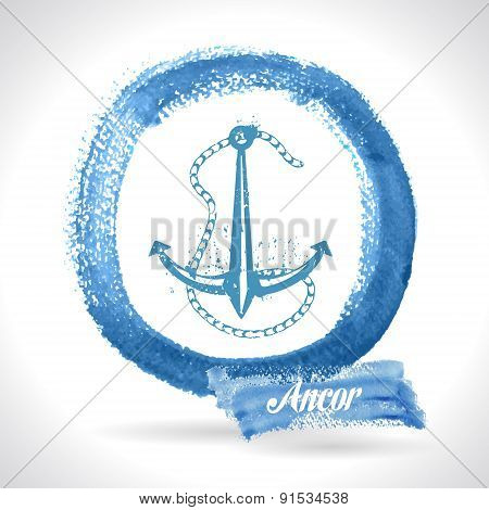 Anchor On Watercolor Background