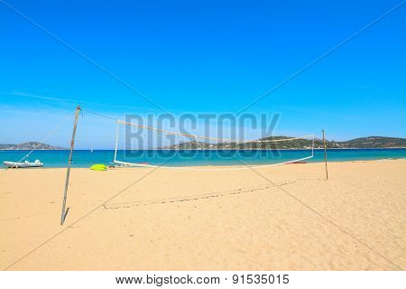 Beach Volley Net In Porto Pollo Beach