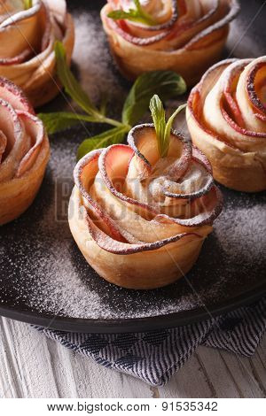 Apple Dessert In The Form Of Roses Close-up. Vertical
