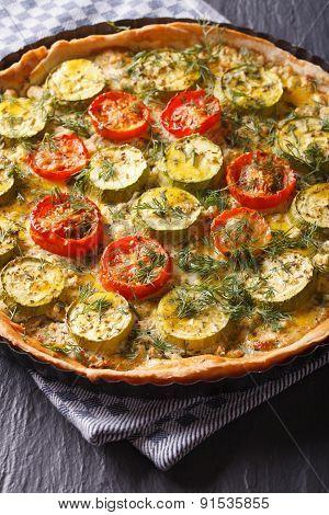 Zucchini Quiche Homemade Closeup. Vertical