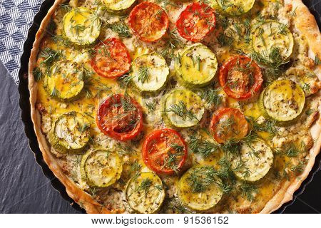 Vegetable Tart With Tomatoes And Zucchini Macro Top View