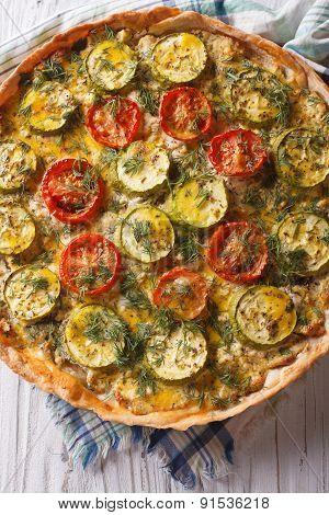 Rustic Quiche Zucchini Closeup. Vertical Top View