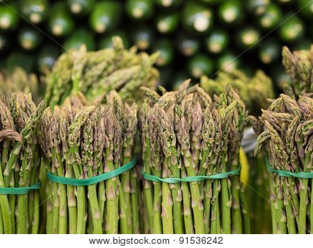 Bundles Of Asparagus On Display At Market