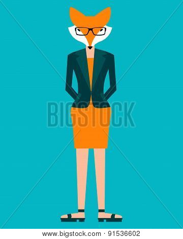 Business woman fox on a blue background. Vector illustration