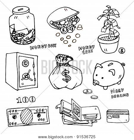 Set of cartoon money