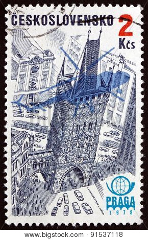 Postage Stamp Czechoslovakia 1976 Powder Tower, Prague