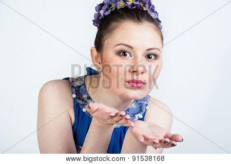 Nice Girl Sending Kiss On White Background