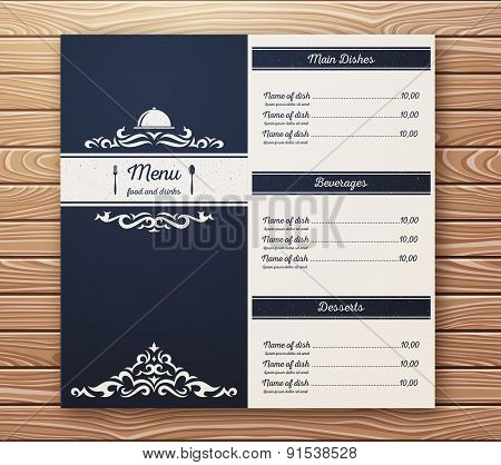 Restaurant or cafe menu vector template retro style.