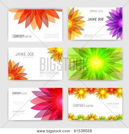 Flower business cards set