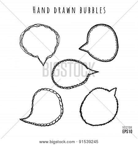 Hand drawn speech bubbles set
