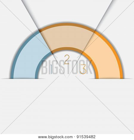Color Semicircle Template With Text Areas On 3 Positions