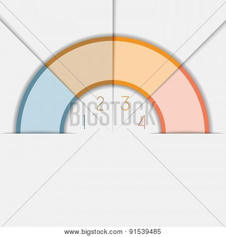 Color Semicircle Template With Text Areas On 4 Positions