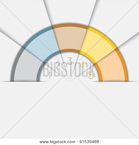 Color Semicircle Template With Text Areas On 5 Positions