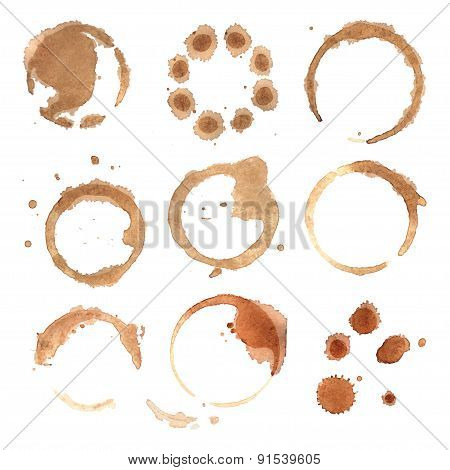 Abstract watercolor background round stains