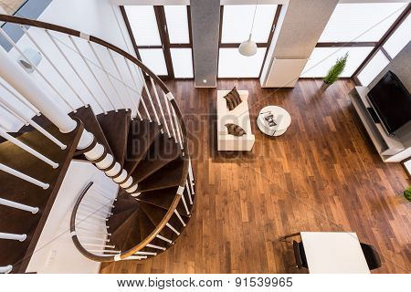 Curve Stairs In Spacious Living Room
