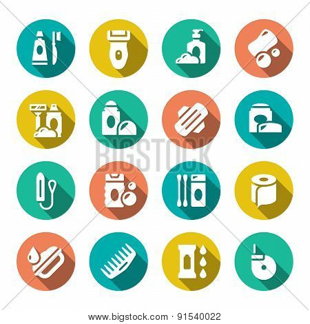 Set Flat Icons Of Hygiene