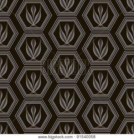 Vector Seamless Pattern Monochrome Ornament With Stylized Geometric Elements Background. Repeating M