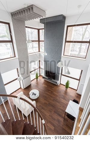 View Of Living Room From The Stairs