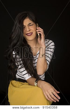 Beautiful Woman Irritated Talking On Her Cell Phone