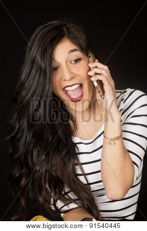 Pretty Brunette Talking On Her Cell Phone Mouth Open