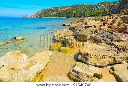 Rocks By The Sea In Capo Testa