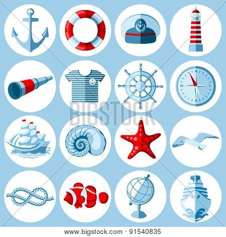 Vector set of round Nautical and marine icons in flat style.