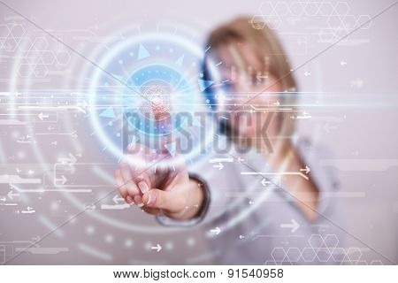 Tech woman pressing high technology control panel screen concept