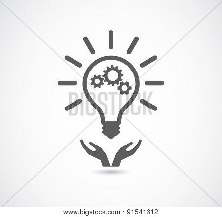 hand support lightbulb gear cogs wheel teamwork