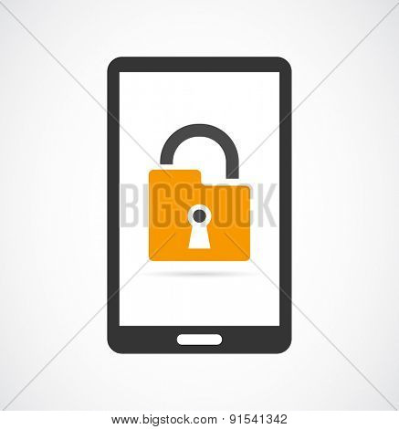 locked smartphone padlock icon design