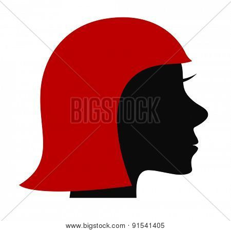 woman head icon with red hair