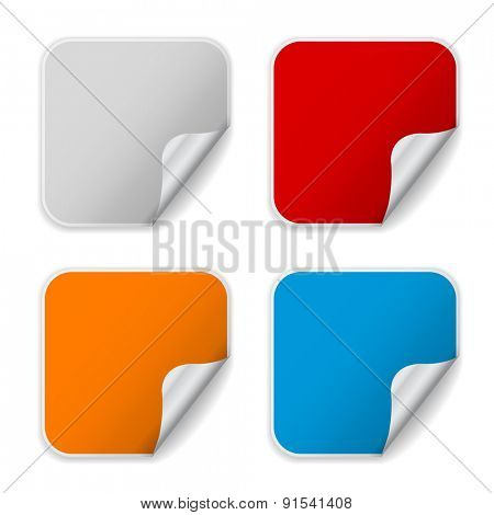 sticker rectangle corner rolled-up design