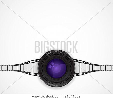 camera lens icon film strip background concept