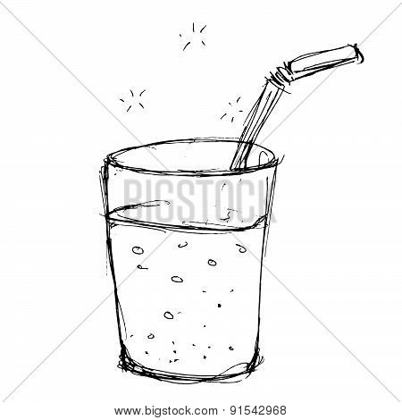 Illustration Of A Glass With A Straw