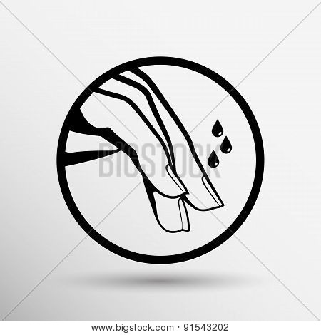 Nail polishing at the salon - Vector icon isolated