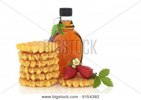 Strawberry Waffles And Maple Syrup